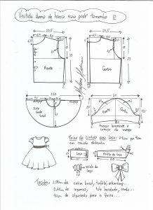 Esquema de modelagem de vestido dama de honra com saia godê tamanho 12.
