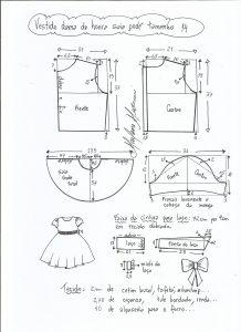 Esquema de modelagem de vestido dama de honra com saia godê tamanho 14.