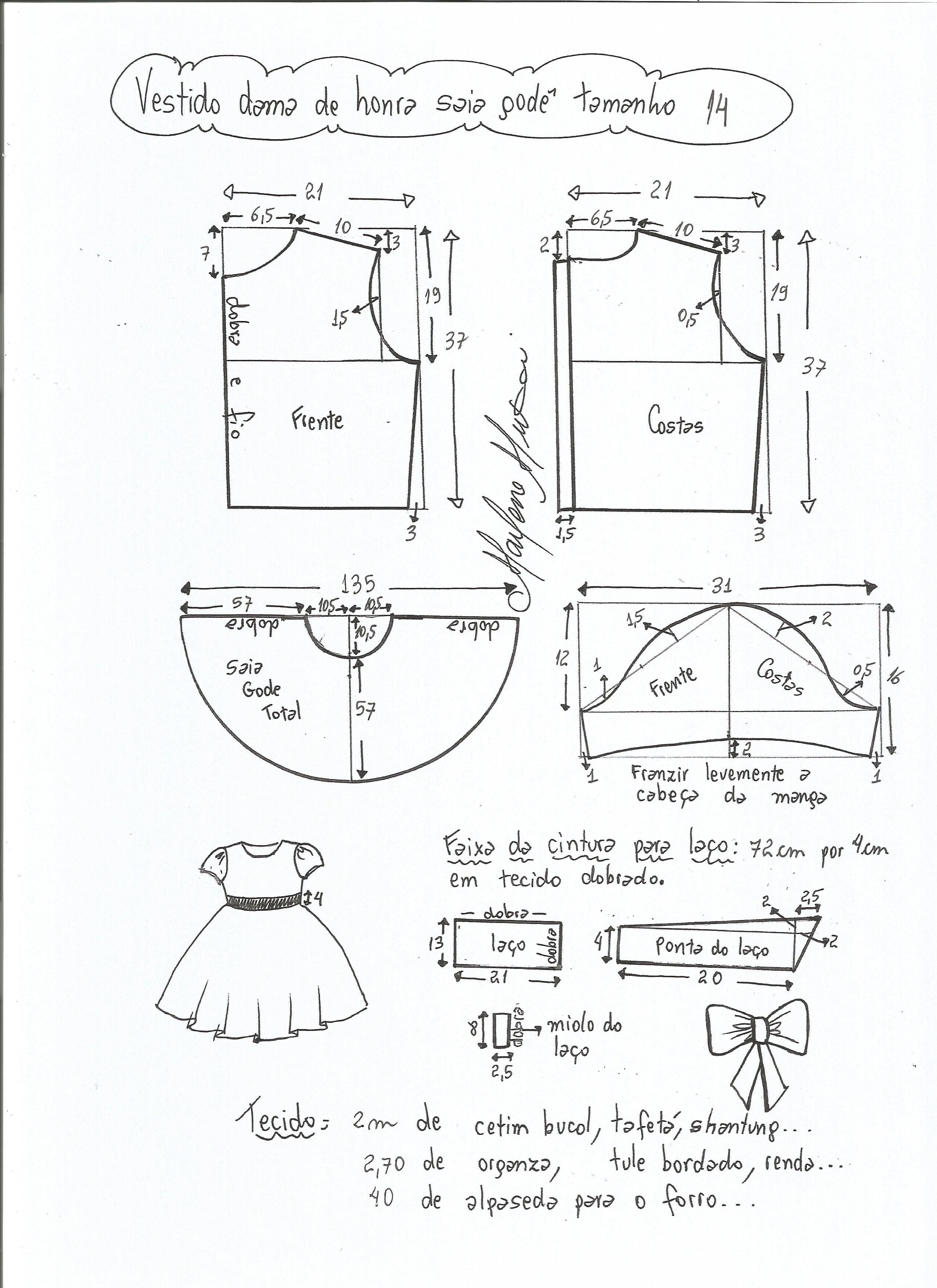 8edf51ad5 Esquema de modelagem de vestido dama de honra com saia godê tamanho 14.