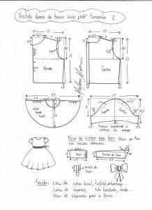 Esquema de modelagem de vestido dama de honra com saia godê tamanho 2.