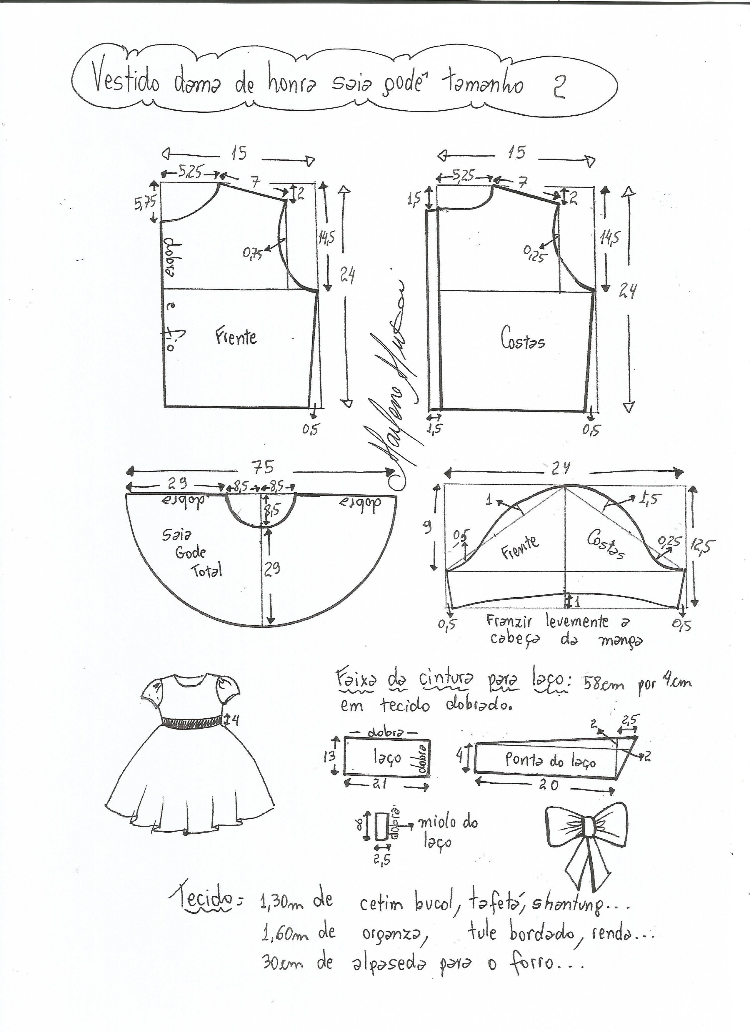 e5677ba83 Esquema de modelagem de vestido dama de honra com saia godê tamanho 2.