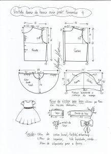 Esquema de modelagem de vestido dama de honra com saia godê tamanho 4.