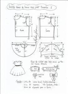 Esquema de modelagem de vestido dama de honra com saia godê tamanho 6.