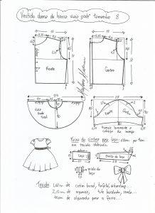 Esquema de modelagem de vestido dama de honra com saia godê tamanho 8.