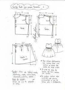 Esquema de modelagem de vestido de festa com saia pregueada tamanho 1.