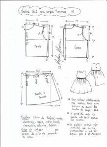 Esquema de modelagem de vestido de festa com saia pregueada tamanho 10.