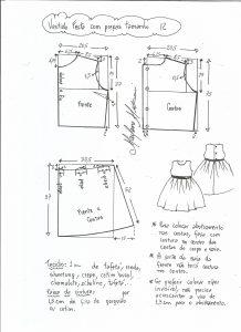 Esquema de modelagem de vestido de festa com saia pregueada tamanho 12.