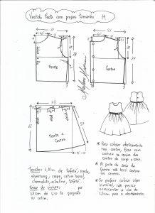 Esquema de modelagem de vestido de festa com saia pregueada tamanho 14.