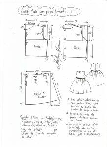 Esquema de modelagem de vestido de festa com saia pregueada tamanho 2.