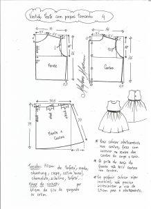 Esquema de modelagem de vestido de festa com saia pregueada tamanho 4.