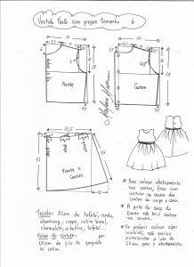 Esquema de modelagem de vestido de festa com saia pregueada tamanho 6.