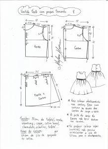 Esquema de modelagem de vestido de festa com saia pregueada tamanho 8.