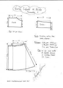 Esquema de modelagem de vestidinho de alcinha tamanho 1.