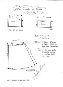 Esquema de modelagem de vestidinho de alcinha tamanho 2.