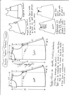 Esquema de modelagem de vestido trapézio, tamanho 3 meses.