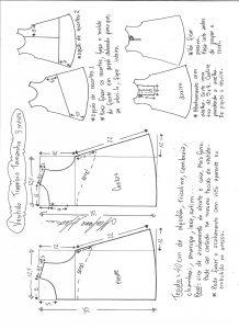 Esquema de modelagem de vestido trapézio tamanho 2 anos.
