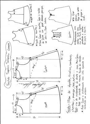 Esquema de modelagem de vestido trapézio, tamanho 6 meses.
