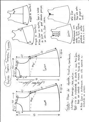Esquema de modelagem de vestido trapézio, tamanho 9 meses.