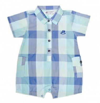 Macacão polo para tecido plano com modelagem para crianças de 1 a 24 meses.