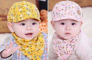 Boné infantil com esquema de modelagem do PP ao GG sendo PP: 1 a 2 anos P: 4 a 8 anos M: 10 a 12 anos G: 14 a 16 anos