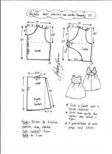 Esquema de modelagem de vestido com abertura nas costas tamanho 10 anos.