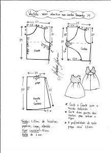 Esquema de modelagem de vestido com abertura nas costas tamanho 14 anos.