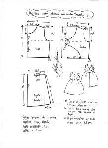 Esquema de modelagem de vestido com abertura nas costas tamanho 6 anos.