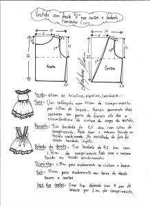 Esquema de modelagem de vestidinho com babado na barra e decote tamanho 1 ano.