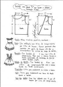Esquema de modelagem de vestidinho com babado na barra e decote tamanho 10 anos.