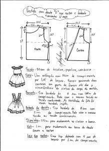 Esquema de modelagem de vestidinho com babado na barra e decote tamanho 12 anos.