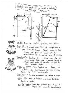Esquema de modelagem de vestidinho com babado na barra e decote tamanho 14 anos.