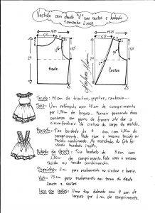 Esquema de modelagem de vestidinho com babado na barra e decote tamanho 2 anos.