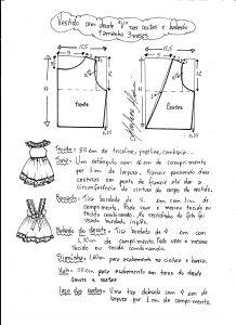 Esquema de modelagem de vestidinho com babado na barra e decote tamanho 3 meses.