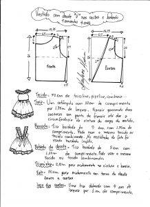 Esquema de modelagem de vestidinho com babado na barra e decote tamanho 4 anos.