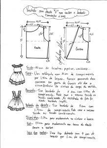 Esquema de modelagem de vestidinho com babado na barra e decote tamanho 6 anos.