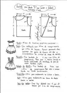 Esquema de modelagem de vestidinho com babado na barra e decote tamanho 8 anos.