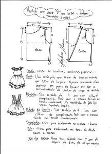 Esquema de modelagem de vestidinho com babado na barra e decote tamanho 9 meses.