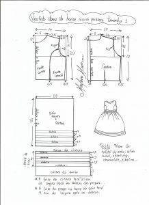 Esquema de modelagem de vestido de festa com recorte princesa tamanho 1.
