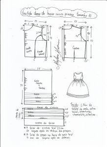 Esquema de modelagem de vestido de festa com recorte princesa tamanho 10.