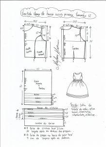 Esquema de modelagem de vestido de festa com recorte princesa tamanho 12.