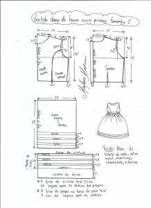 Esquema de modelagem de vestido de festa com recorte princesa tamanho 2.