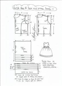 Esquema de modelagem de vestido de festa com recorte princesa tamanho 4.