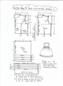 Esquema de modelagem de vestido de festa com recorte princesa tamanho 6.