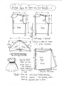 Esquema de modelagem de vestido infantil de festa com saia franzida tamanho 1.