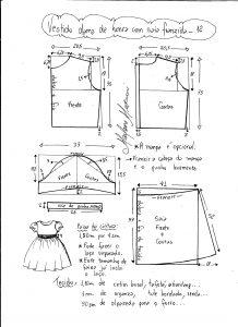 Esquema de modelagem de vestido infantil de festa com saia franzida tamanho 12.