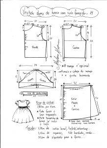 Esquema de modelagem de vestido infantil de festa com saia franzida tamanho 14.