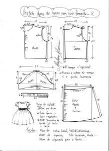 Esquema de modelagem de vestido infantil de festa com saia franzida tamanho 2.
