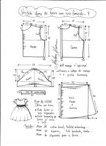 Esquema de modelagem de vestido infantil de festa com saia franzida tamanho 4.