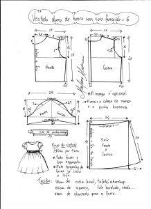 Esquema de modelagem de vestido infantil de festa com saia franzida tamanho 6.