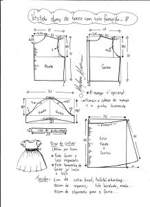Esquema de modelagem de vestido infantil de festa com saia franzida tamanho 8.